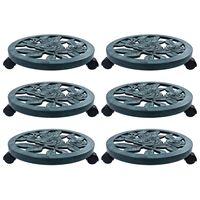 vidaXL Soporte con ruedas para plantas 6 unidades plástico verde 38 cm