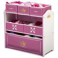 Delta Children Organizador de juguetes Princess Crown blanco y rosa