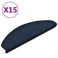 vidaXL Alfombrilla autoadhesiva escalera 15 uds 65x21x4 cm azul marino