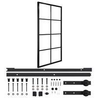 vidaXL Puerta corredera de aluminio y vidrio ESG con herrajes 90x205cm