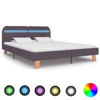 vidaXL Estructura de cama con LED tela gris topo 160x200 cm