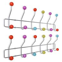 vidaXL Percheros de pared con 12 ganchos de colores 2 unidades