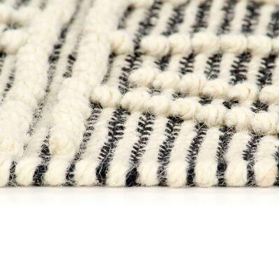 vidaXL Alfombra tejida a mano de lana negro/blanco 80x150 cm