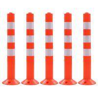 vidaXL Bolardos de control de tráfico plástico 75 cm 5 unidades