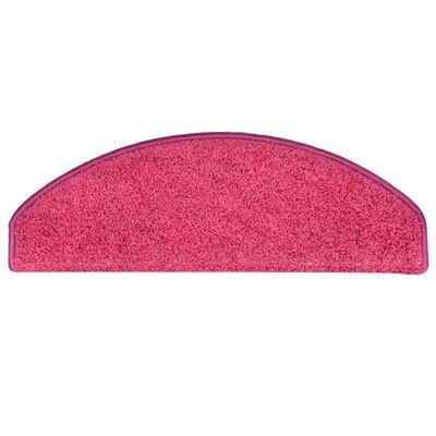 vidaXL Alfombras de peldaños de escalera 15 uds rosa 65x21x4 cm