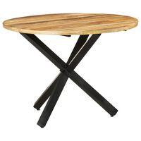vidaXL Mesa de comedor madera de mango rugosa redonda 100x100x75 cm