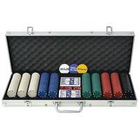 vidaXL Juego de Póker con 500 fichas maletín de aluminio