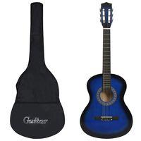 """vidaXL Set de guitarra clásica niños principiantes 8 pzas azul 3/4 36"""""""