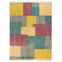 vidaXL Alfombra de algodón Kilim estamapado multicolor 160x230 cm