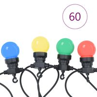 vidaXL Guirnalda de luces 60 uds adorno navideño redondo 59 m