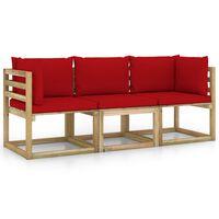 vidaXL Sofá de jardín de 3 plazas con cojines rojo