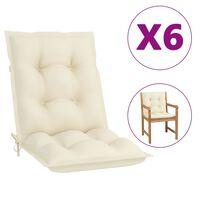 vidaXL Cojines para sillas de jardín 6 uds color crema 100x50x7 cm