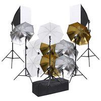 vidaXL Kit de iluminación de estudio de fotografía y softboxes