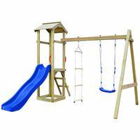 vidaXL Parque infantil con tobogán, escaleras y columpio de madera