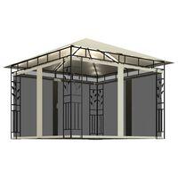 vidaXL Cenador con mosquitera y tira de luces crema 3x3x2,73m 180 g/m²