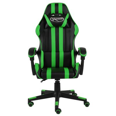 vidaXL Silla gaming de cuero sintético negro y verde
