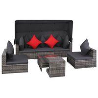 vidaXL Set de muebles de jardín 7 pzas y cojines ratán sintético gris