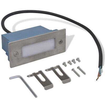 vidaXL Lámparas LED empotrables para escalera 6 unidades 44x111x56 mm