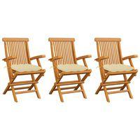 vidaXL Sillas de jardín 3 uds madera de teca con cojines blanco crema