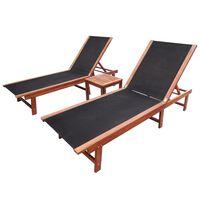 vidaXL Tumbona con mesita 2 unidades madera maciza acacia y textilene