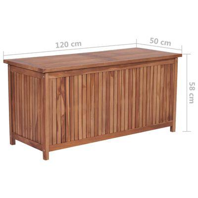 vidaXL Caja de almacenaje de jardín 120x50x58 cm madera maciza de teca