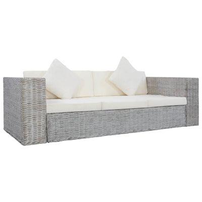 vidaXL Sofá de 3 plazas con cojines ratán natural gris