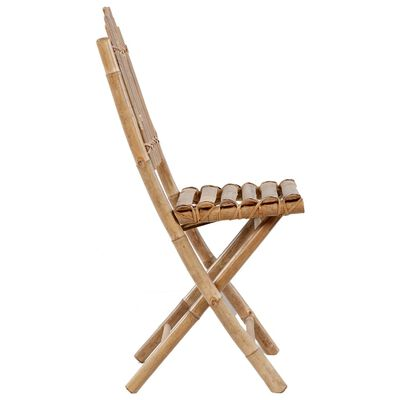 vidaXL Sillas de jardín plegables 2 unidades bambú con cojines