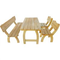 vidaXL Mesa y banco de exterior 4 piezas de madera de pino impregnada
