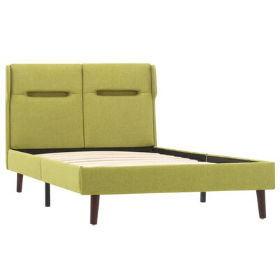 vidaXL Estructura de cama con LED tela verde 90x200 cm