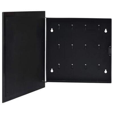 vidaXL Caja de llaves con tablero magnético negra 35x35x5,5 cm