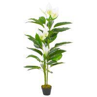 vidaXL Planta artificial Anthurium con macetero 155 cm blanca