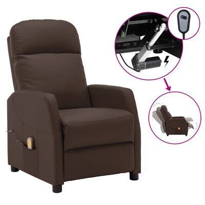 vidaXL Sillón de masaje eléctrico reclinable cuero sintético marrón