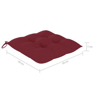 vidaXL Sillas de jardín 4 uds madera de teca con cojines rojo tinto