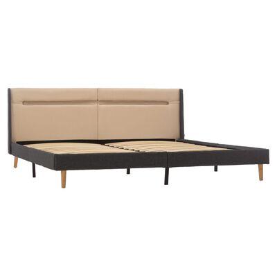 vidaXL Estructura de cama con LED tela color crema 160x200 cm