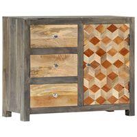 vidaXL Armario auxiliar de madera maciza de mango gris 75x30x60 cm