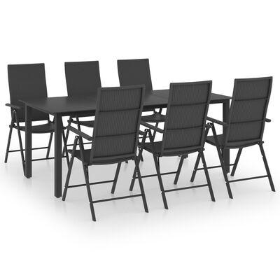 vidaXL Juego de comedor para jardín 7 piezas negro