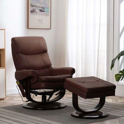 vidaXL Sillón reclinable masaje cuero sintético madera curvada marrón