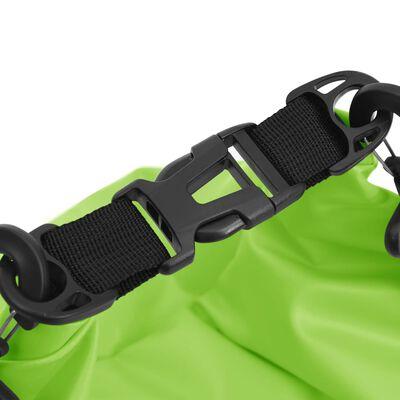 vidaXL Bolso acuático impermeable con cremallera PVC verde 15 L