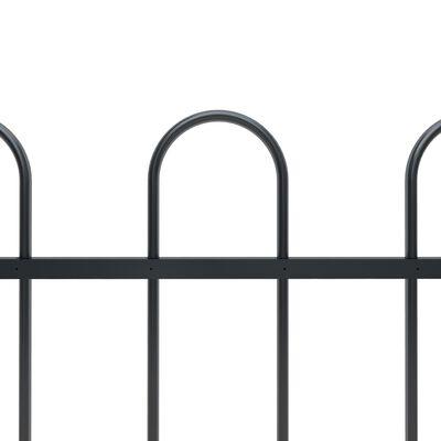 vidaXL Valla de jardín con puntas de aro acero negro 1,7 m