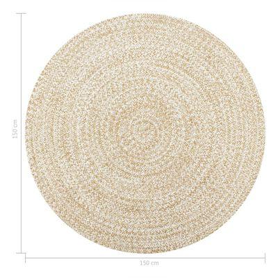 vidaXL Alfombra hecha a mano de yute blanca y natural 150 cm