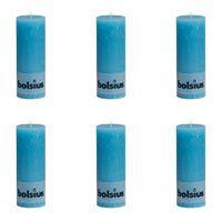 Bolsius Velas rústicas 190x68 mm 6 unidades azul
