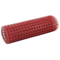vidaXL Alambrada de gallinero acero revestimiento PVC rojo 25x0,5 m