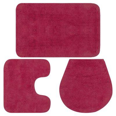 vidaXL Conjunto de alfombrillas de baño de tela 3 piezas fucsia