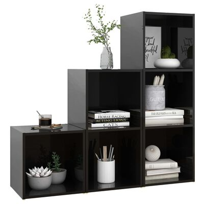 vidaXL Juego de mueble para TV de 3 piezas aglomerado negro brillante