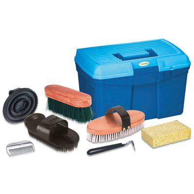 Kerbl Caja de aseo para caballos con 7 herramientas azul 321775