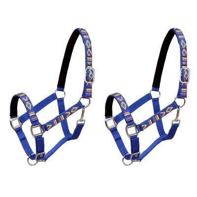 vidaXL Cabezadas de caballo nylon tamaño percherón azul 2 unidades