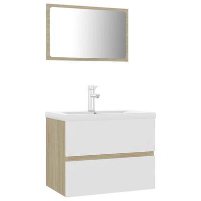 vidaXL Conjunto de muebles de baño aglomerado blanco y roble Sonoma