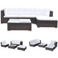 vidaXL Set muebles de jardín 5 piezas y cojines ratán sintético marrón
