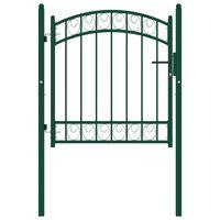 vidaXL Puerta de jardín con arco superior acero verde 100x100 cm