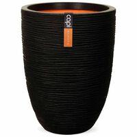 Capi Jarrón Nature Rib elegante bajo 46x58 cm negro KBLR783